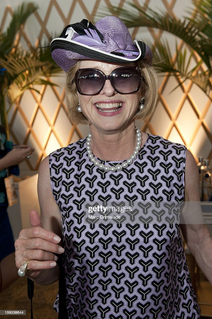 <a gi-track='captionPersonalityLinkClicked' href=/galleries/search?phrase=Gai+Waterhouse&family=editorial&specificpeople=239456 ng-click='$event.stopPropagation()'>Gai Waterhouse</a> poses in the Moet & Chandon marquee on Magic Millions Raceday at the Gold Coast Turf Club on January 12, 2013 in Gold Coast, Australia.