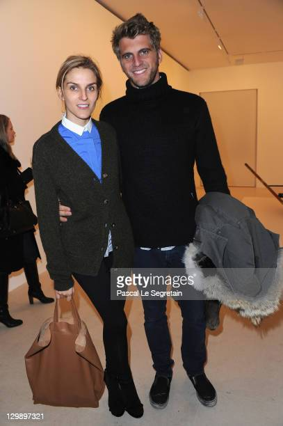 Gaia Repossi and boyfriend Jeremy Everett attend the launch of the 6th issue of TAR Magazine at Gagosian Gallery on October 21 2011 in Paris France