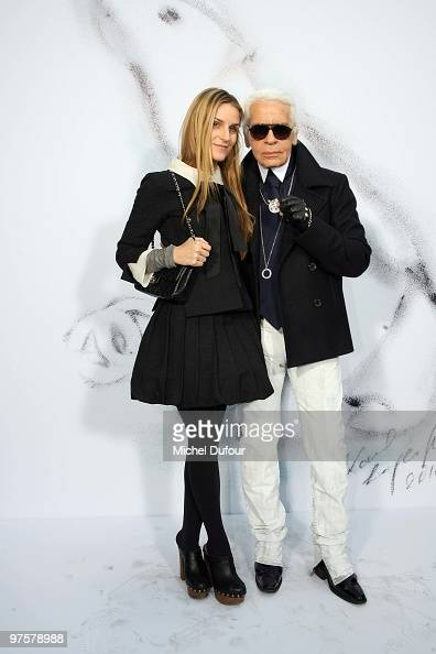 Gaia Repossi and Karl Lagerfeld attend the Chanel Ready to Wear show as part of the Paris Womenswear Fashion Week Fall/Winter 2011 at Grand Palais on...