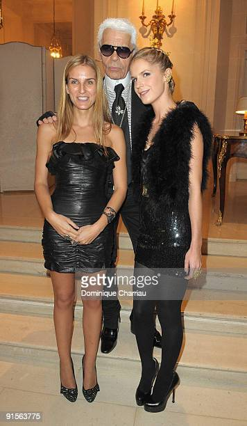 Gaia Repossi Karl Lagerfeld and Eugenie Niarchos attend the launch Of New Jewellery Collection By Gaia Repossi And Eugenie Niarchos at Hotel Ritz...