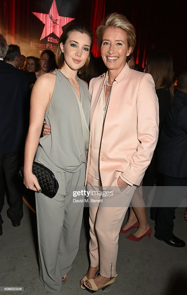 Gaia Romilly Wise and Emma Thompson attend a champagne reception at the London Evening Standard British Film Awards at Television Centre on February...