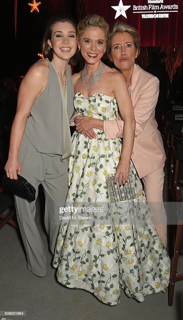 Gaia Romilly Wise Emilia Fox and Emma Thompson attend a champagne reception at the London Evening Standard British Film Awards at Television Centre...