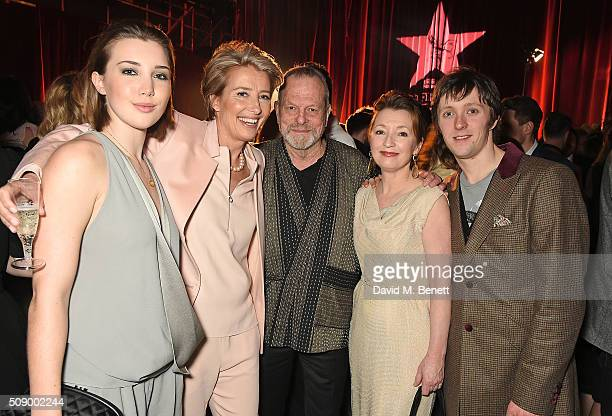 Gaia Romilly Wise Emma Thompson Terry Gilliam Lesley Manville and Alfie Oldman attend a champagne reception at the London Evening Standard British...