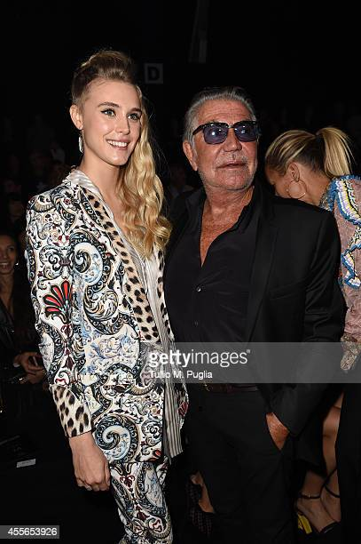 Gaia Weiss and Roberto Cavalli attend the Just Cavalli show during the Milan Fashion Week Womenswear Spring/Summer 2015 on September 18 2014 in Milan...