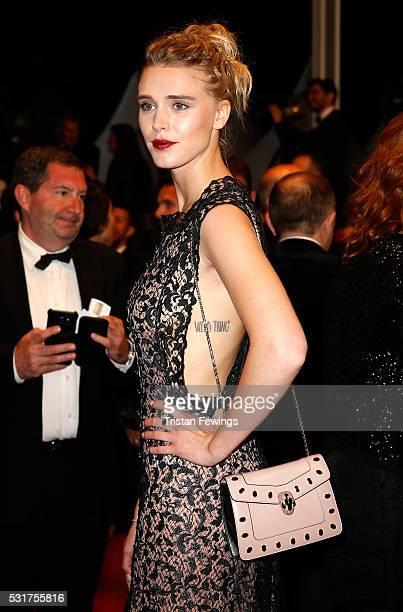 Gaia Weiss attends the 'Hands Of Stone' premiere during the 69th annual Cannes Film Festival at the Palais des Festivals on May 16 2016 in Cannes...