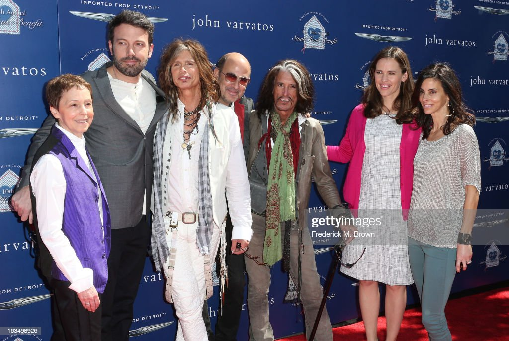 Gail Abarbanel, President of The Rape Foundation, director <a gi-track='captionPersonalityLinkClicked' href=/galleries/search?phrase=Ben+Affleck&family=editorial&specificpeople=201856 ng-click='$event.stopPropagation()'>Ben Affleck</a>, recording <a gi-track='captionPersonalityLinkClicked' href=/galleries/search?phrase=Steven+Tyler+-+Musician&family=editorial&specificpeople=202080 ng-click='$event.stopPropagation()'>Steven Tyler</a>, fashion designer John Varvatos, recording artist <a gi-track='captionPersonalityLinkClicked' href=/galleries/search?phrase=Joe+Perry+-+Musician&family=editorial&specificpeople=13600677 ng-click='$event.stopPropagation()'>Joe Perry</a>, actress <a gi-track='captionPersonalityLinkClicked' href=/galleries/search?phrase=Jennifer+Garner&family=editorial&specificpeople=201813 ng-click='$event.stopPropagation()'>Jennifer Garner</a> and <a gi-track='captionPersonalityLinkClicked' href=/galleries/search?phrase=Joyce+Varvatos&family=editorial&specificpeople=731977 ng-click='$event.stopPropagation()'>Joyce Varvatos</a> attend John Varvatos 10th Annual Stuart House Benefit Presented by Chrysler, at John Varvatos Los Angeles on March 10, 2013 in Los Angeles, California.