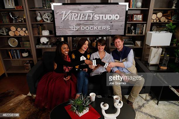 Gail Bean Cobie Smulders Kris Swanberg and Anders Holm speak at The Variety Studio At Sundance Presented By Dockers on January 25 2015 in Park City...