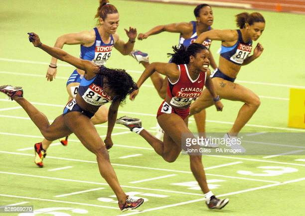 Gail Devers of the USA is suprisingly beaten by Perdita Felicien of Canada in the Final of the 60m Hurdles at the World Indoor Athletics...