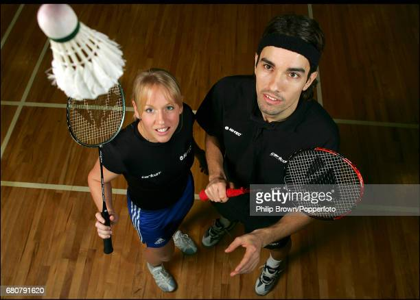Gail Emms and Nathan Robertson of Great Britain get ready for the Badminton Championships in Manchester England on the 2nd February 2005