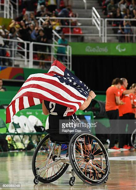 Gail Gaeng of United States celebrates their victory after Womens Wheelchair Basketbal gold medal match between United States and Germany on day 9 of...