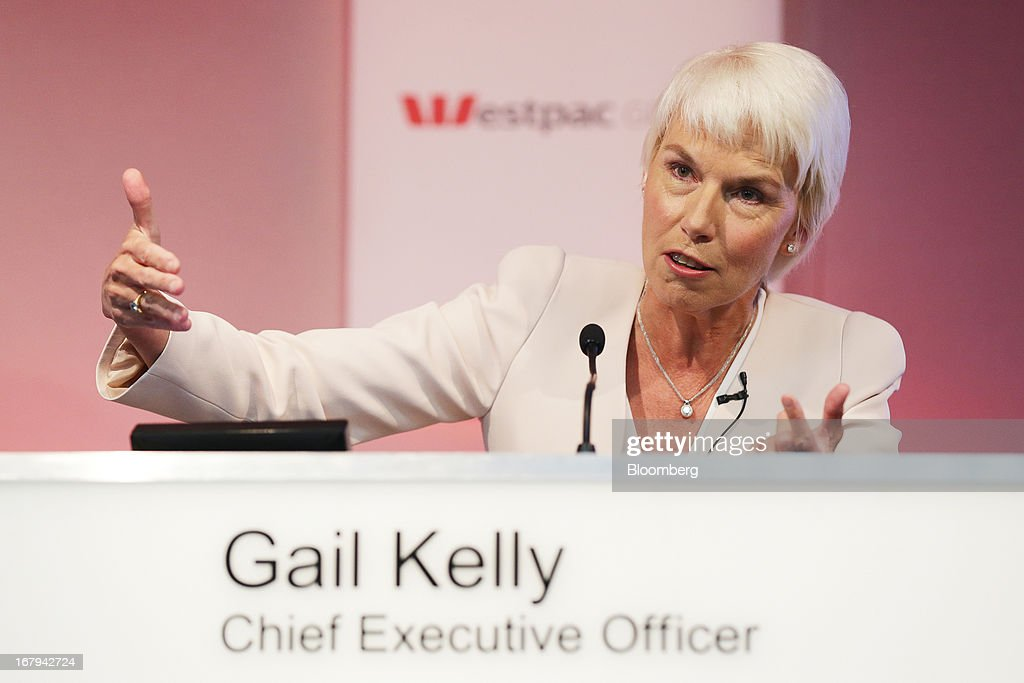 Gail Kelly, chief executive officer of Westpac Banking Corp., gestures as she speaks during a news conference in Sydney, Australia, on Friday, May 3, 2013. Westpac, Australia's second-biggest lender by market value, will pay a special dividend for the first time since 1988 after first-half cash earnings rose 10 percent on tighter cost controls. Photographer: Brendon Thorne/Bloomberg via Getty Images