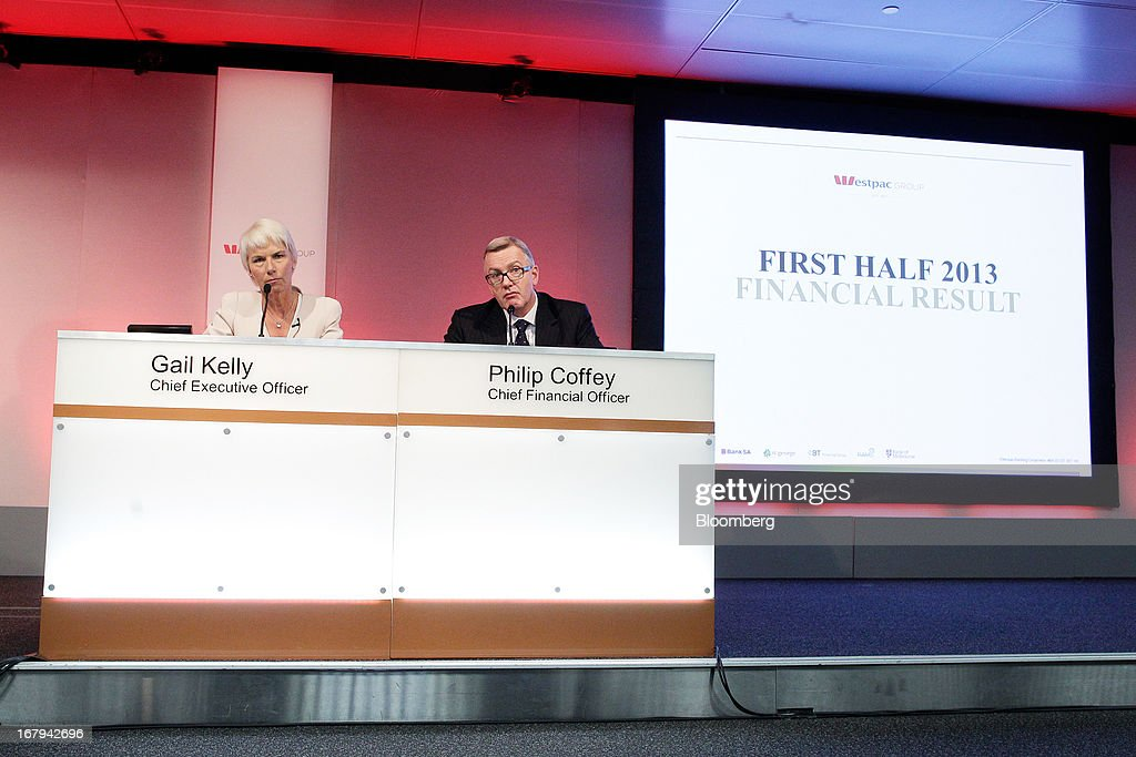 Gail Kelly, chief executive officer of Westpac Banking Corp., left, and Philip Coffey, chief financial officer, attend a news conference in Sydney, Australia, on Friday, May 3, 2013. Westpac, Australia's second-biggest lender by market value, will pay a special dividend for the first time since 1988 after first-half cash earnings rose 10 percent on tighter cost controls. Photographer: Brendon Thorne/Bloomberg via Getty Images
