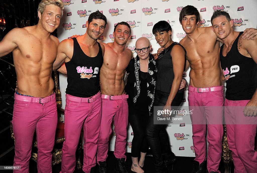 <a gi-track='captionPersonalityLinkClicked' href=/galleries/search?phrase=Gail+Porter&family=editorial&specificpeople=217576 ng-click='$event.stopPropagation()'>Gail Porter</a> (C) and guest pose with the Dream Idols at Wink Bingo's Gentle Woman's Night featuring a performance from The Dream Idols at Peter Stringfellow's Angels Club on March 18, 2013 in London, England.