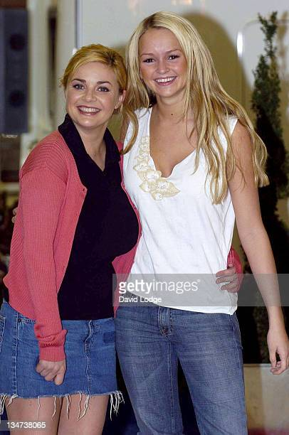 Gail Porter and Jennifer Ellison during 'Cool Chicks Go Caravanning' Photocall at Earls Court in London Great Britain