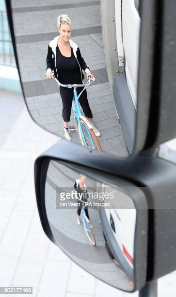Gail Porter is reflected in a mirror on a lorry as she launches a new campaign to raise awareness of the danger to cyclists from HGV's called 2 Way...