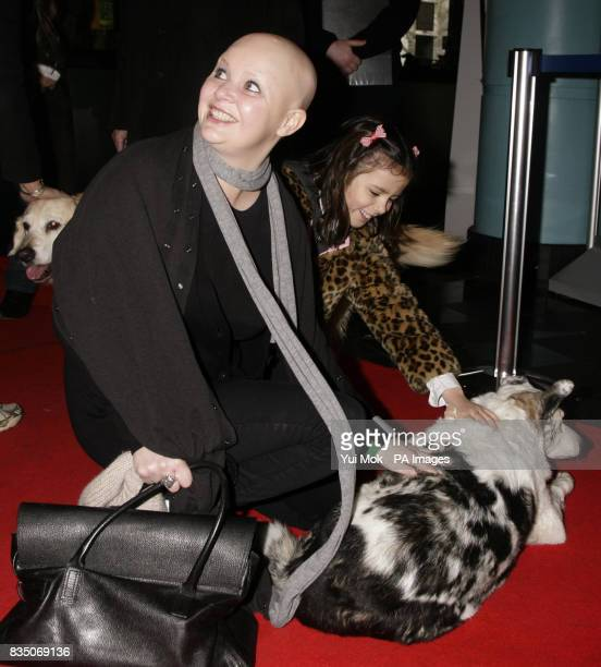 Gail Porter meets Blue Peter dog Mabel upon arriving for the DVD Premiere screening of Open Season 2 at Vue West End in Leicester Square central...