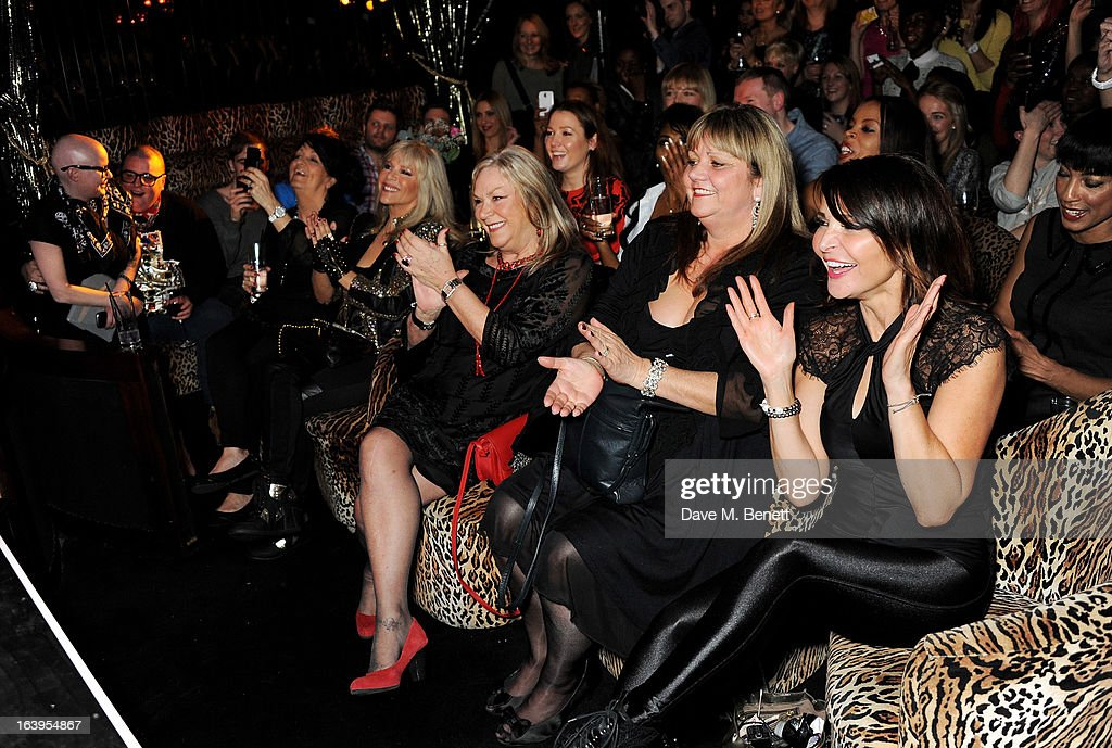 Gail Porter (L), Sam Fox (4L) and Lizzie Cundy (R) attend Wink Bingo's Gentle Woman's Night featuring a performance from The Dream Idols at Peter Stringfellow's Angels Club on March 18, 2013 in London, England.