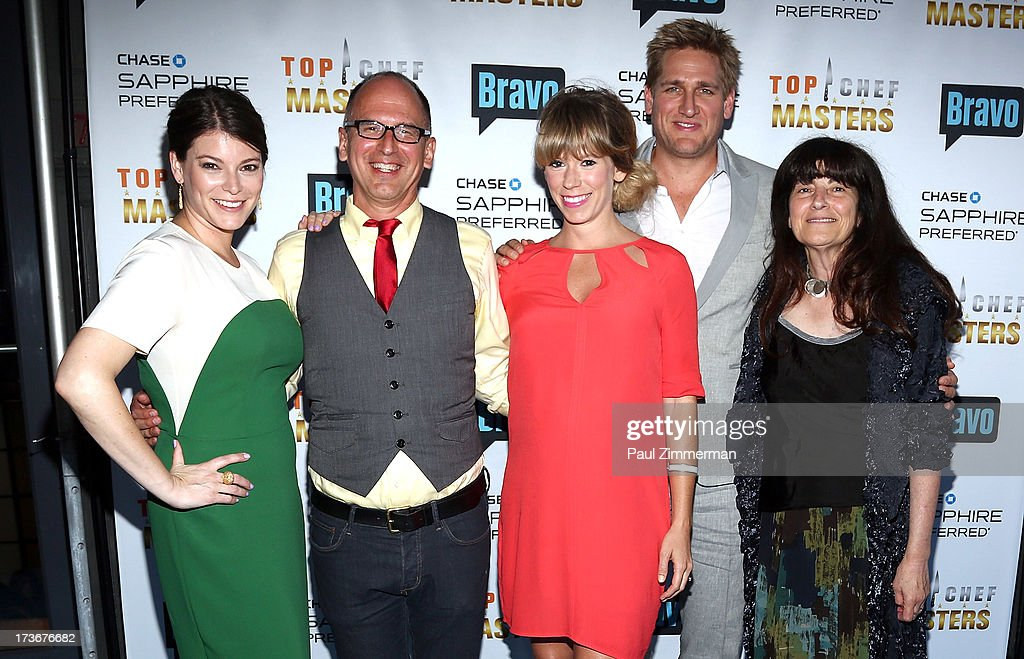 Gail Simmons, James Oseland, Lesley Sutter, Curtis Stone and Ruth Reichl attend Bravo's 'Top Chef Masters' Season 5 Premiere Celebration at 82 Mercer on July 16, 2013 in New York City.