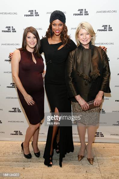 Gail Simmons Tyra Banks and Martha Stewart attend 2013 The James Beard Foundation's Women In White gala at Four Seasons Restaurant on November 15...