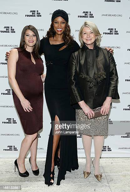 Gail Simmons Tyra Banks and Martha Stewart attends Women In Whites The 2013 James Beard Foundation Gala at The Four Seasons Restaurant on November 15...