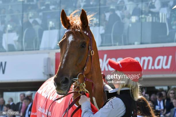 Gailo Chop with strapper Olivia Ludeman after winning the Ladbrokes Stakes at Caulfield Racecourse on October 14 2017 in Caulfield Australia