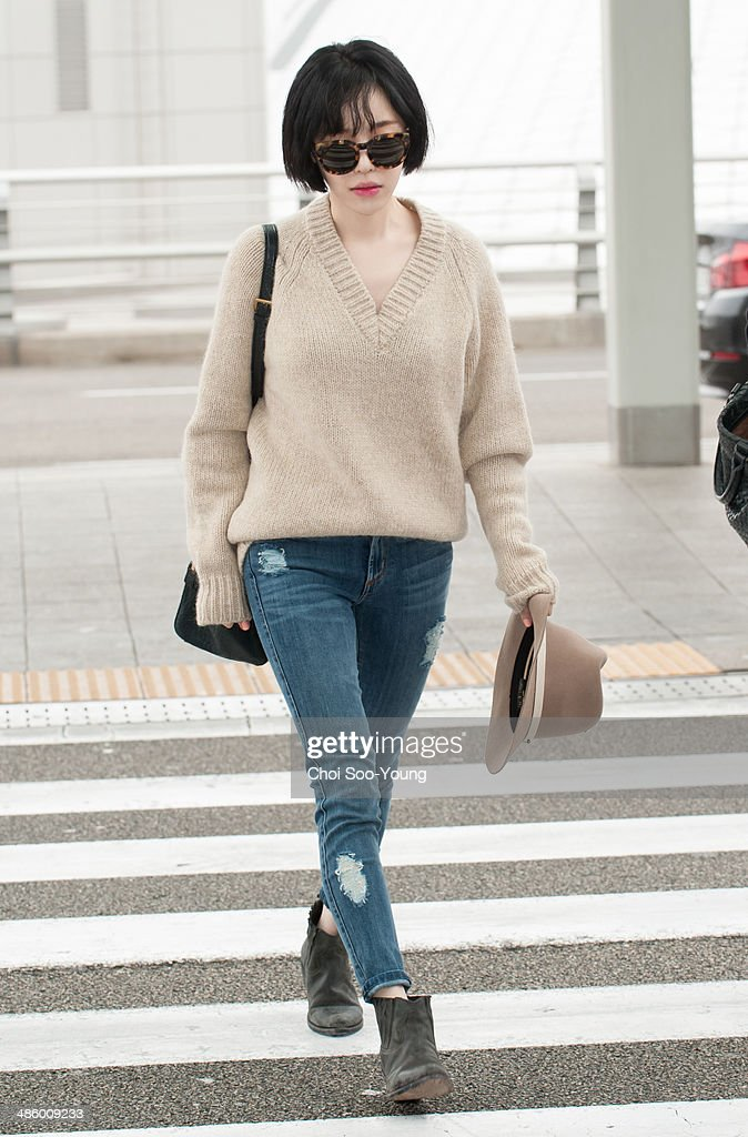 Gain of <a gi-track='captionPersonalityLinkClicked' href=/galleries/search?phrase=Brown+Eyed+Girls&family=editorial&specificpeople=6492749 ng-click='$event.stopPropagation()'>Brown Eyed Girls</a> is seen at Incheon International Airport on March 28, 2014 in Seoul, South Korea.