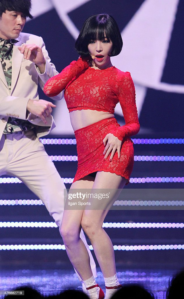 Gain of <a gi-track='captionPersonalityLinkClicked' href=/galleries/search?phrase=Brown+Eyed+Girls&family=editorial&specificpeople=6492749 ng-click='$event.stopPropagation()'>Brown Eyed Girls</a> performs onstage during the Mnet 'M Count Down' at CJ E&M Center on February 20, 2014 in Seoul, South Korea.