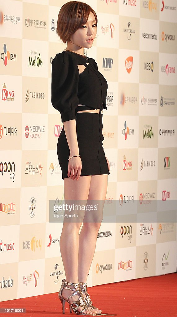 Gain poses for photographs upon arrival during '2nd Gaonchart K-pop Awards' at Olympic Hall on February 13, 2013 in Seoul, South Korea.