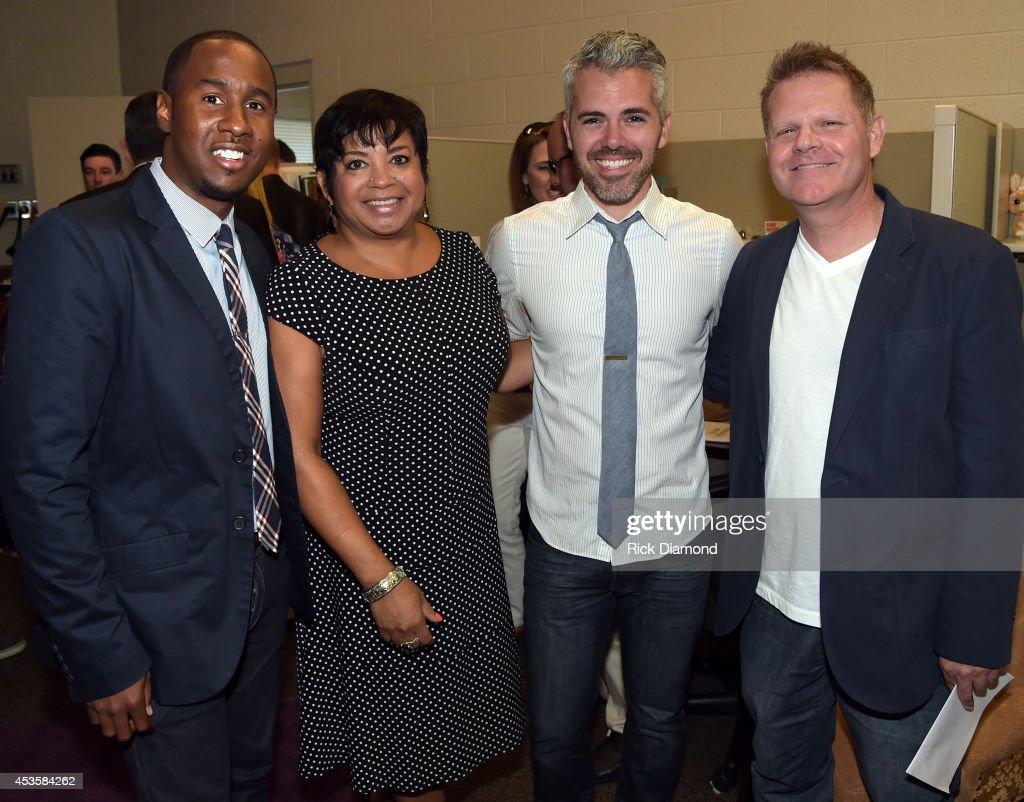 EJ Gaines, Jackie Patillo, Justin Fratt and Brian Smith attend the nominees during the 45th Annual GMA Dove Awards Nominations Press Conference at Allen Arena on Lipscomb University campus, August 13, 2014 in Nashville, Tennessee.