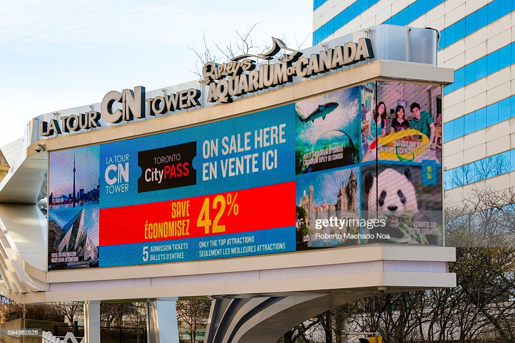 Gaint screen information on Ripley's Aquarium and CN Tower tour Ripley's is a public aquarium standing on 12500 squaremeters The CN Tower is a 55333...