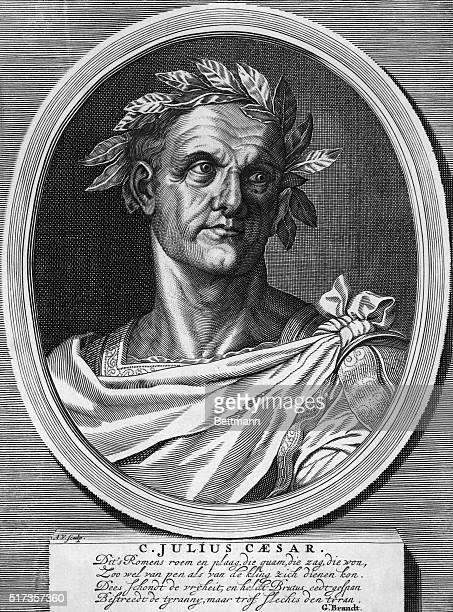 Gaius Julius Caesar with laurel wreath Endated engraving
