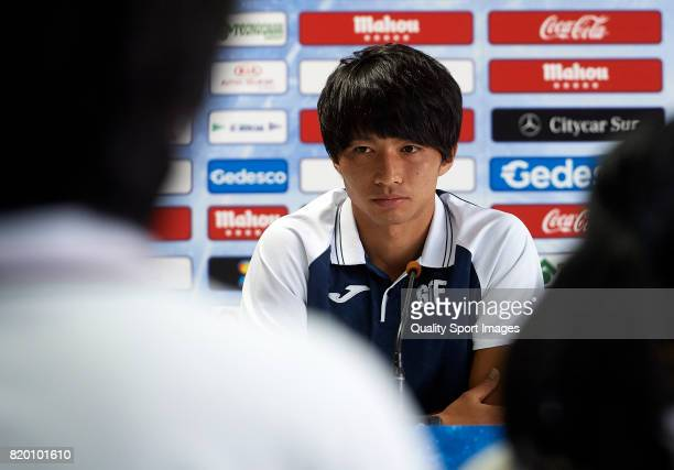 Gaku Shibasaki faces the media during his presentation as a new player of Getafe CF at Coliseum Alfonso Perez on July 21 2017 in Getafe Spain