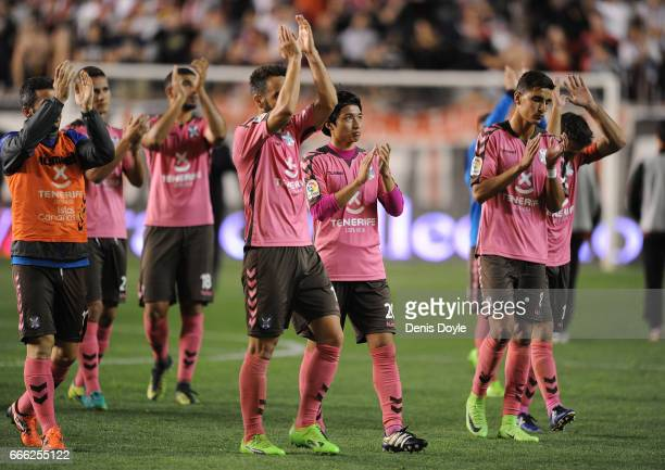 Gaku Shibasaki of CD Tenerife applauds Tenerife fans after the La Liga Segunda Division match between Rayo Vallecano and CD Tenerife at Estadio de...