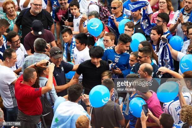 Gaku Shibasaki of CD Tenerife at his arrival to the stadium during La Liga 2 between CD Tenerife and at Heliodoro Rodriguez Lopez Stadium on June 18...