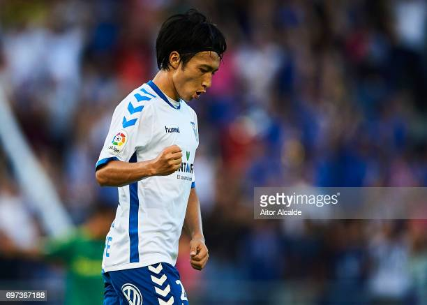 Gaku Shibasaki of CD Tenerife celebrates after scoring the first goal for CD Tenerife during La Liga 2 play off round between CD Tenerife and at...