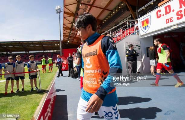 Gaku Shibasaki of CD Tenerife comes onto the pitch before the La Liga Segunda Division match between CD Numancia and CD Tenerife at Estadio Los...