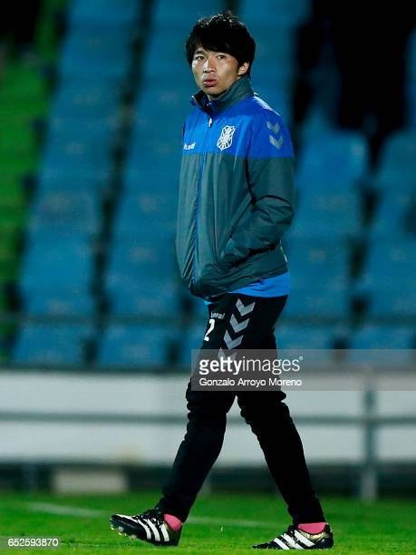 Gaku Shibasaki of CD Tenerife enters the pitch after the La Liga second league match between Getafe CF and CD Tenerife at Coliseum Alfonso Perez on...