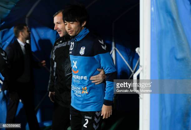 Gaku Shibasaki of CD Tenerife enters to the pitch for warming up before the La Liga second league match between Getafe CF and Tenerife SAD at...