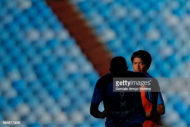 Gaku Shibasaki of CD Tenerife excersises with his teammates during their warming up before the La Liga 2 match between Real Zaragoza and CD Tenerife...