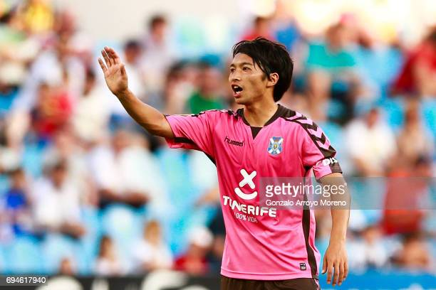 Gaku Shibasaki of CD Tenerife gives instructions to his teammates during the La Liga 2 match between Real Zaragoza and CD Tenerife at La Romareda...