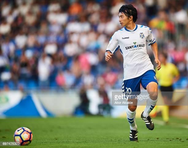 Gaku Shibasaki of CD Tenerife in action during La Liga 2 play off round between CD Tenerife and at Heliodoro Rodriguez Lopez Stadium on June 18 2017...