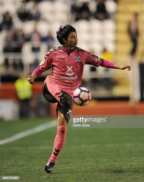 Gaku Shibasaki of CD Tenerife in action during the La Liga Segunda Division match between Rayo Vallecano and CD Tenerife at Estadio de Vallecas on...