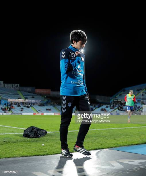 Gaku Shibasaki of CD Tenerife leaves the pitch after warming up before the La Liga second league match between Getafe CF and Tenerife SAD at Coliseum...