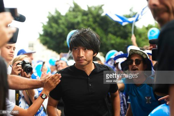 Gaku Shibasaki of CD Tenerife looks on at his arrival to the stadium during La Liga 2 between CD Tenerife and at Heliodoro Rodriguez Lopez Stadium on...