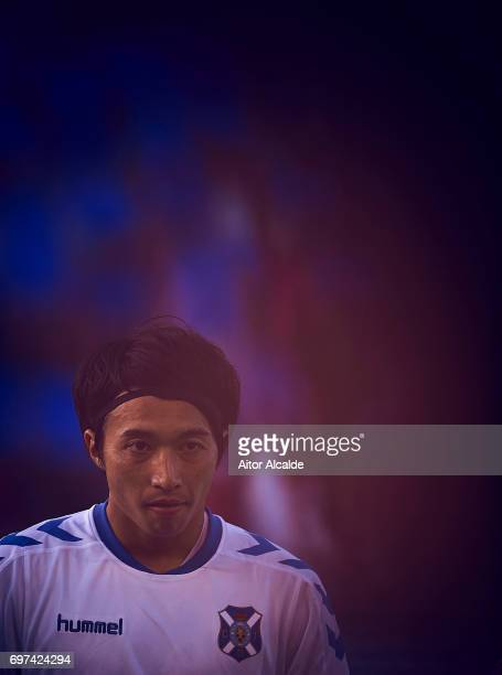 Gaku Shibasaki of CD Tenerife looks on during La Liga 2 play off round between CD Tenerife and at Heliodoro Rodriguez Lopez Stadium on June 18 2017...