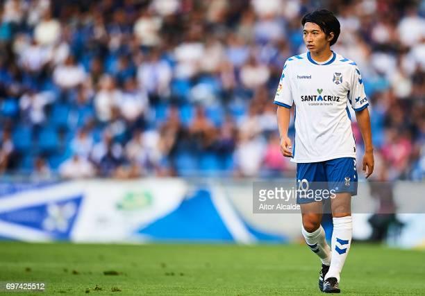 Gaku Shibasaki of CD Tenerife looks on during La Liga 2 play off round between CD Tenerife at Heliodoro Rodriguez Lopez Stadium on June 18 2017 in...