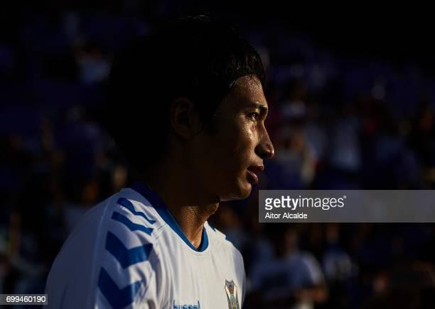 Gaku Shibasaki of CD Tenerife looks on during La Liga 2 play off round between CD Tenerife and Getafe CF at Heliodoro Rodriguez Lopez Stadium on June...