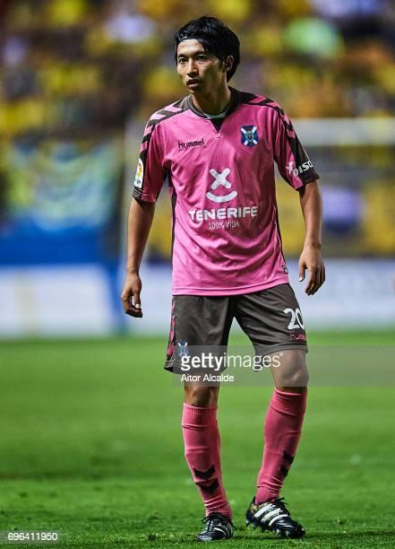 Gaku Shibasaki of CD Tenerife looks on during La Liga Segunda Division between Cadiz CF and CD Tenerife at Estacio Ramon de Carranza on June 15 2017...