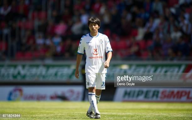 Gaku Shibasaki of CD Tenerife looks on during the La Liga Segunda Division match between CD Numancia and CD Tenerife at Estadio Los Pajaritos on...