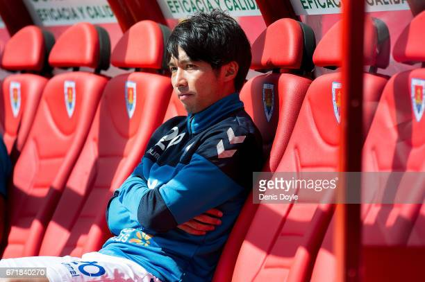 Gaku Shibasaki of CD Tenerife looks on from the bench before the La Liga Segunda Division match between CD Numancia and CD Tenerife at Estadio Los...